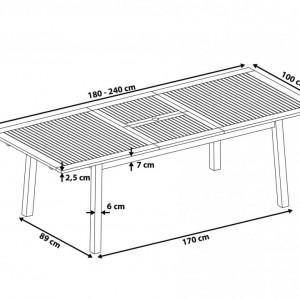 Masa extensibila de gradina CESANA din salcam 180/240 x 100 cm