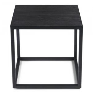 Masa laterală Amburgey, lemn/metal, neagra, 40 x 40 x 40 cm
