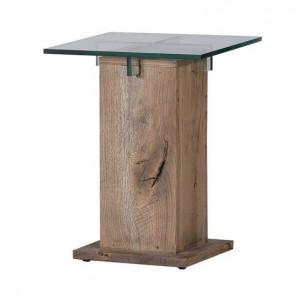 Masa laterala Bayamon, lemn/sticla, maro, 40 x 50 x 40 cm