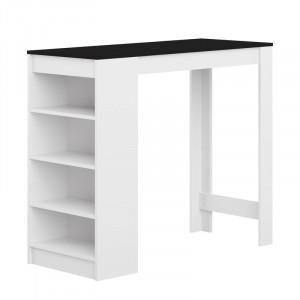 Masa Neville din lemn, alb / negru, 115 x 50 cm