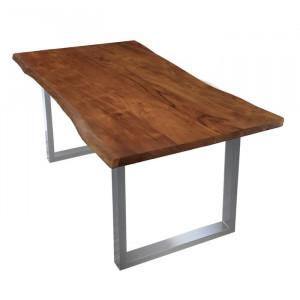 Masă Ryegate, metal/lemn masiv de salcam, 180 x 90 x 77 cm