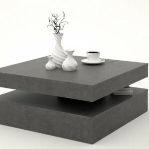 Masuta de cafea Forte, cu blat rotativ, gri, 78 x 78 x 35 cm