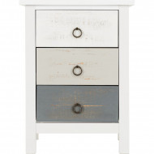 Noptiera Ducharme din lemn, alb / gri, 60 x 44 cm