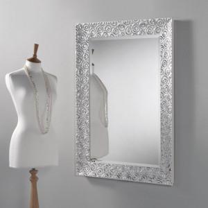 Oglindă Accent, cadru lemn alb/ argintiu, 94,5 x 69 cm