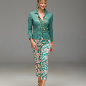 Pantaloni Dalila, verde/crem Marimea M by Lisa Corti