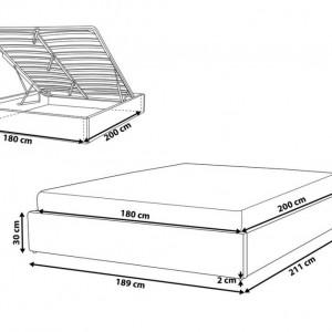 Pat Dinan cu loc de depozitare, gri, 180 x 200 cm