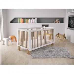 Pătuț bebe Lockhart din lemn masiv de pin, alb, 77,5 x 147 x 74 cm