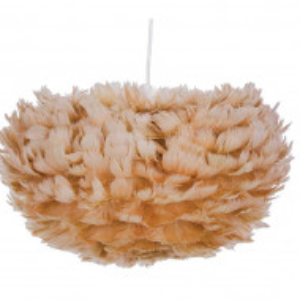 Pendul cu abajur din pene FOG, maro-bej, cablu alb, 35 x 20 cm
