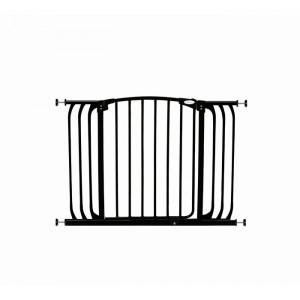 Poarta de siguranta, metal, neagra, 77,4 x 99,6 x 5,7 cm