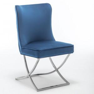 Scaun Shaffer, metal, crom/albastru, 95 x 53 x 60 cm