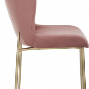 Scaun Tess din catifea roz, 84 x 48 cm