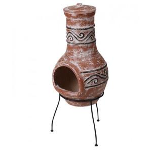 Semineu Karll din ceramica, maro, 36 X 35 X 88 cm