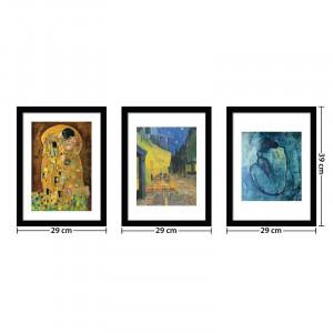 Set 1 rama si 3 tablouri 'Famous Paintings', 39cm H x 29cm W x 1,5cm D