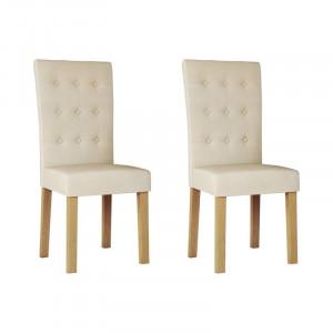 Set 2 scaune de masă tapițate Farren, bej, 99,5cm H x 49cm W x 43cm D