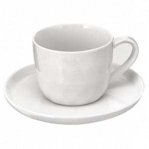 Set 6 cești cu farfurioare de porțelar Porcelino, alb