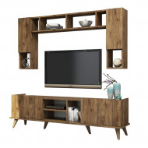 Set comoda TV cu biblioteca Nancy's Delta, maro