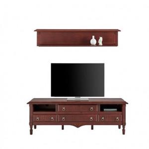 Set comoda TV și etajera Leonique, lemn de cires