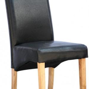 Set de 12 scaune de living Cambridge, piele sintetica neagra, picioare lemn natur