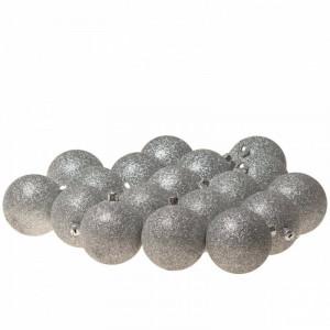 Set de 18 globuri Xmas Glitter, argintiu