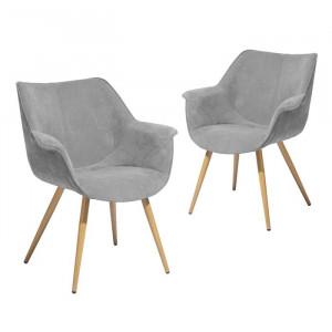 Set de 2 scaune Aisling, tapitate, gri, 79,5 x 66 x 69 cm