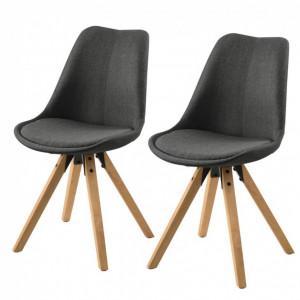Set de 2 scaune Aledas II cu picioare din lemn masiv, antracit