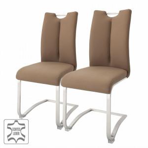 Set de 2 scaune Anamela II piele/metal, cappuccino, 45 x 102 x 58 cm