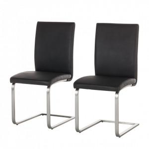 Set de 2 scaune Augusta I din imitatie de piele, negru, fara brate
