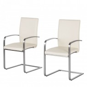 Set de 2 scaune Augusta I din piele naturala/otel inoxidabil, crem, 44 x 98 x 58 cm