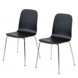 Set de 2 scaune Borelas, lemn de arbore de cauciuc, negru
