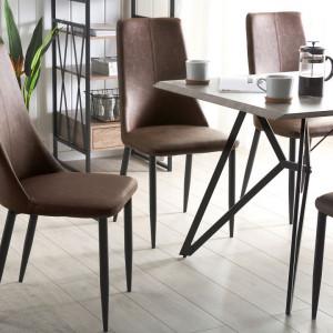 Set de 2 scaune CLAYTON, piele ecologica, maro, 47 x 58 x 96 cm