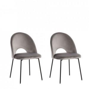 Set de 2 scaune Covel din catifea gri