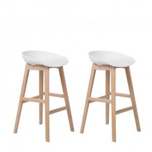 Set de 2 scaune de bar Micco,alb/maro, 42 x 46 x 85 cm