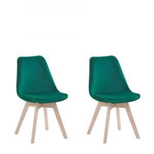 Set de 2 scaune de catifea Dakota II, verde