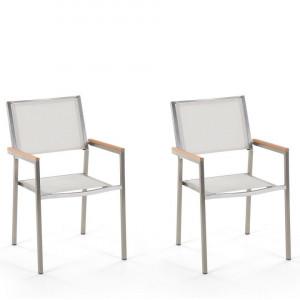 Set de 2 scaune de gradina Grosseto, argintii/albe, 55 x 58 x 87 cm
