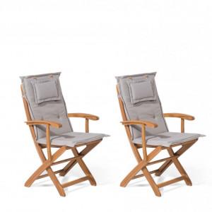 Set de 2 scaune de salcam de gradina MAUI, cu perne gri bej incluse