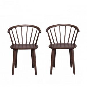 Set de 2 scaune din lemn, Windsor Carmen, maro, 54 x 76 x 46 cm