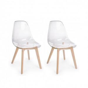 Set de 2 scaune Easy, lemn/ policarbonat, 52 x 82 x 47 cm