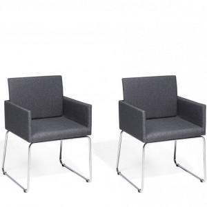 Set de 2 scaune Gomez, gri/argintii, 54 x 58 x 81 cm