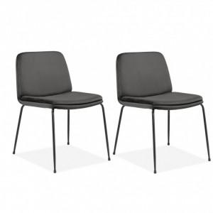 Set de 2 scaune Heine Svaneke, catifea, antracit, 51 x 59 x 78 cm