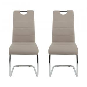 Set de 2 scaune Herbert, argintii/ cappuccino, 98 x 43 x 59 cm