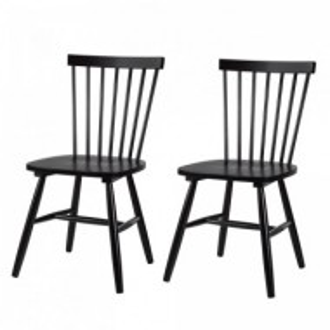 Set de 2 scaune Jalenas din lemn de cauciuc negru