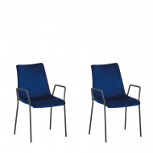 Set de 2 scaune JEFFERSON, metal/catifea, albastre, 57 x 60 x 87 cm