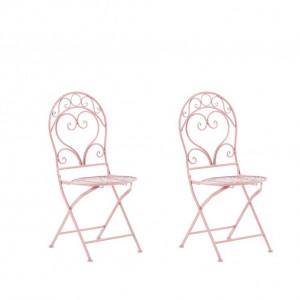 Set de 2 scaune metalice de grădină Albinia, roz