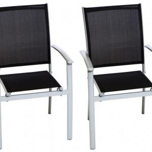 Set de 2 scaune Milano Klassik aluminiu/textile, negru, 90 x 57 x 56 cm