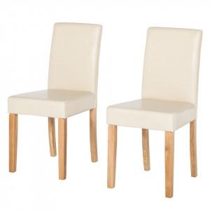 Set de 2 scaune Nella, piele sintetica, bej