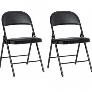 Set de 2 scaune pliabile Felicity, negru