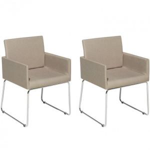 Set de 2 scaune tapitate Gomez, bej, 54 x 47 cm
