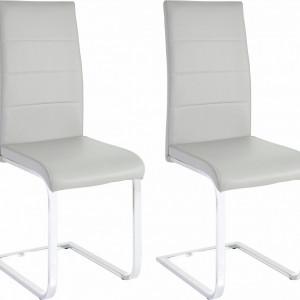 Set de 2 scaune tapitate Josy - piele sintetica - gri/metal