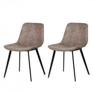Set de 2 scaune Teini tapitate, cappuccino/negru, tesatura/otel, 48 x 77 x 60 cm