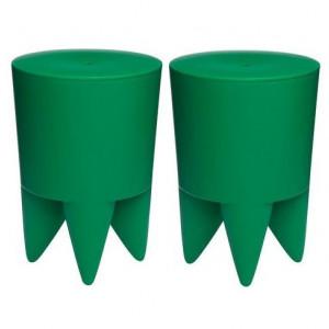 Set de 2 tabureti cu spatiu de depozitare Bubu verde smarald